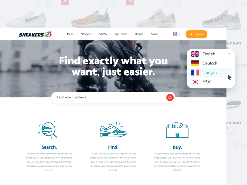 Sneakers123 - Home desktop layout white clean interface website design web ui
