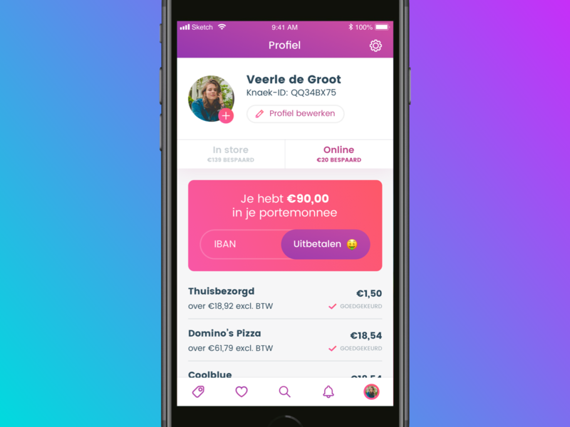 Knaek - Cashback gradient purple ios appdesign mobile ui mobile app interface design ui