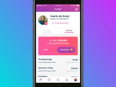 Knaek - Cashback gradient purple ios appdesign mobile ui mobile app interface design ui