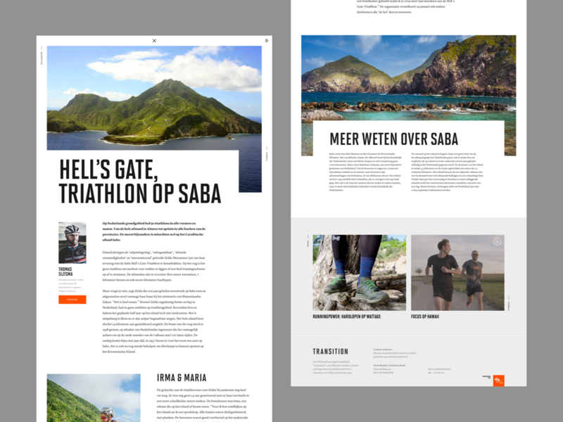 Transition - Special netherlands dark magazine layout desktop website design web ui
