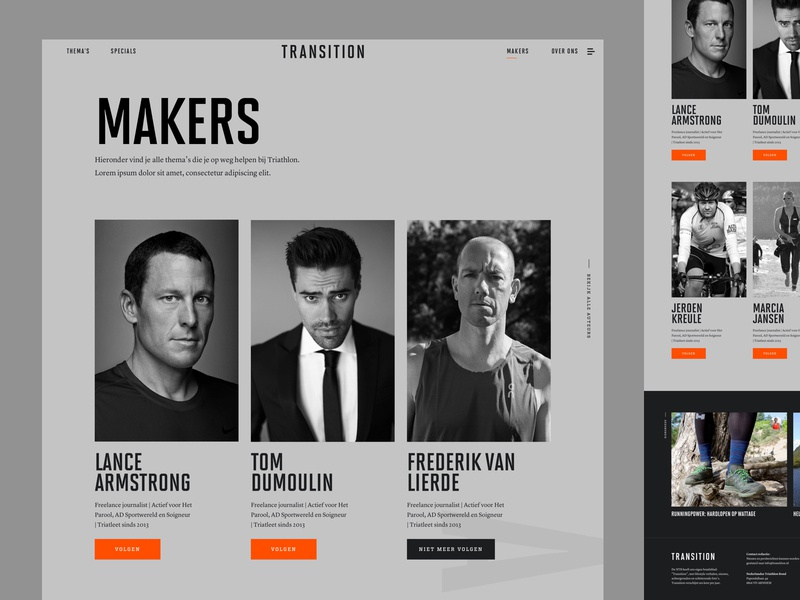 Transition - Makers sport magazine netherlands type typography desktop layout website design web ui