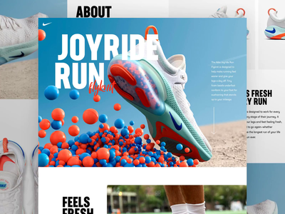 Nike Joyride Run video nike desktop concept clean website design web ui
