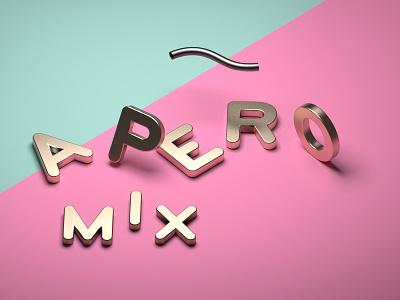APERO MIX isometric modeling 3d typography design
