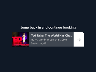 Small Card Widget to Continue Booking clevertap bookmyshow event booking