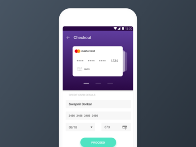 DailyUI 2 - Mobile Checkout gradients material design mobile checkout