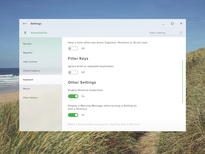 Daily UI #7  - Accessibility Settings Page With Fluent Design settings page daily ui 7 toggle light background blur microsoft fluent design