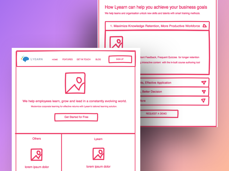 Collaborative Invision Freehand for Landing Page with Lyearn landing page conversions wireframe website redesign freehand invision