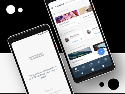 UI Mockups for Layover Social social networking pixel 2 xl pixel 2 material design layover