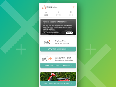 Early Version of CreditMate's Homepage responsive design mobile web homepage rejected sophisticated