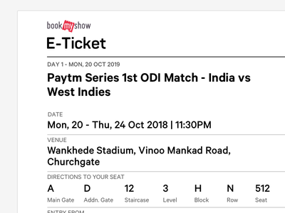BookMyShow Print Ticket for Sports & Activities bookmyshow live entertainment ticket print design print