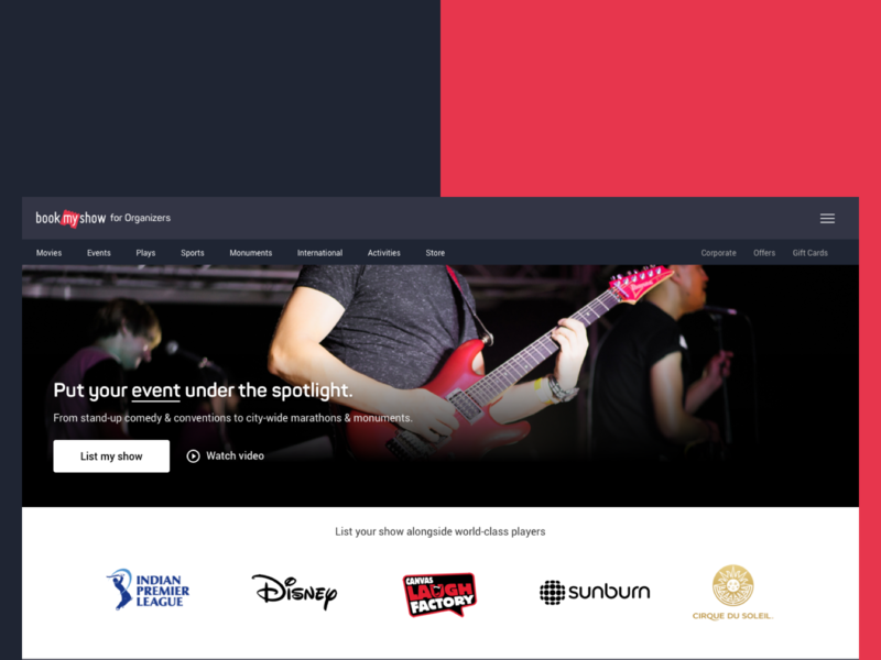 BookMyShow for Organizers - Landing page