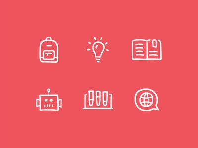NE Loves Public Schools world science technology robot book bulb idea backpack bag school illustration icon