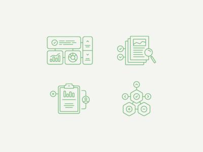 Analytics + Research monoweight symbol icon illustration information data research analytics