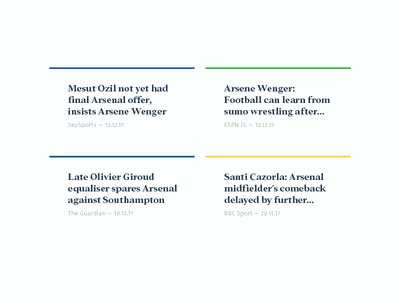 Aggregate articles news soccer football arsenal cards typography ui aggregate