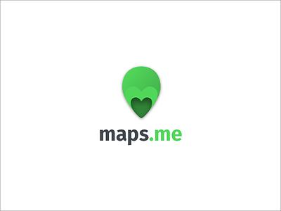 MAPS.ME like love m green design logo mapsme