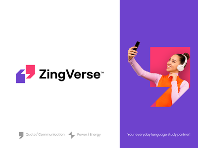 ZingVerse color logomark spg branding minimal illustration identity mark symbol logo thunderbolt communication quote energy power verse zing