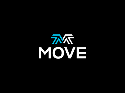 Move typography logotype brand logomark sports energy branding minimal illustration identity mark symbol logo arrow move
