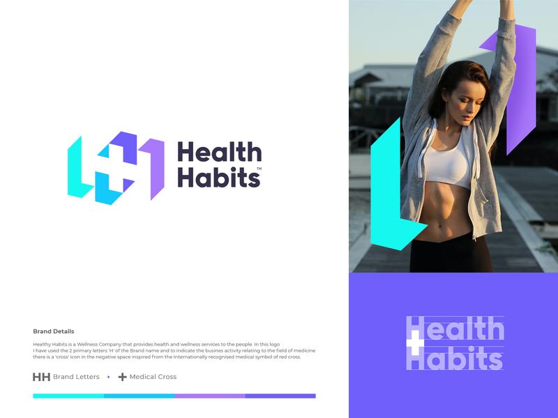 Health Habits spg typography letter logotype illustration branding identity mark symbol logo negativespace cross medical health hh h logo h