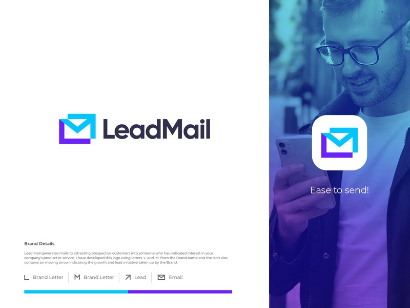 LeadMail app icon clever minimal logotype branding logomark m l move growth arrow illustration identity mark symbol logo email lead mail