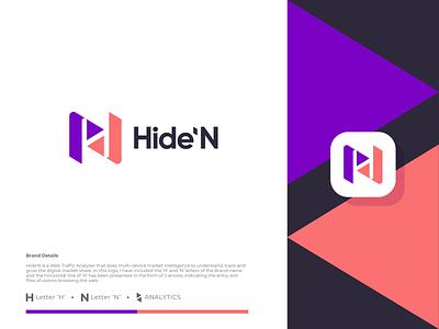 Hide'N app ux ui web growth arrow branding logomark icon minimal illustration identity mark symbol logo letter n logo n h logo h