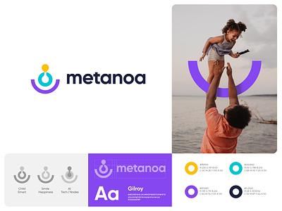 Metanoa Branding branding identity mark symbol logo abstract node artificialintelligence ai technology tech happiness happy children child kid health autism metanoa