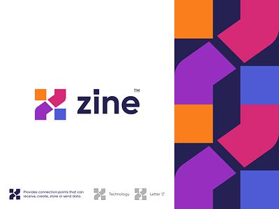 Zine spg gradient colorful logomark branding illustration identity mark symbol tech logo logo monogram abstract letter z digital node technology tech zine
