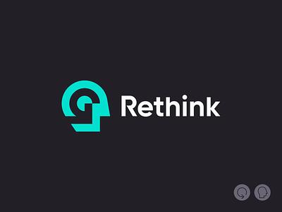 Rethink icon arrowhead human negative space branding mark logomark logomarks symbol logo arrow logo think rethink back rewind arrow face brain head man