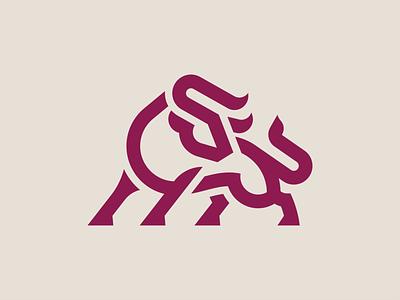 Bull 🐂 oxen stroke line rampant heraldic vector identity branding logomark minimal illustration symbol mark logo animal logo animals animal bull logo bull