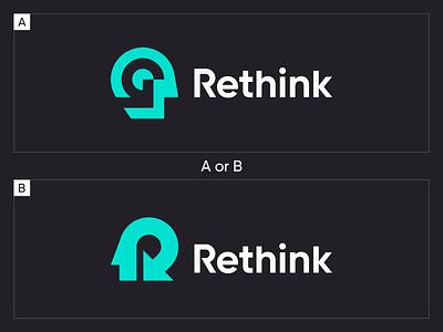 Rethink logos brand negativespace branding logomark minimal illustration mark identity symbol icon rethink logo human arrow face brain head man