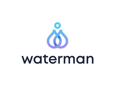 WaterMan elegent clever gradient brannding logomark minimal identity mark symbol logo waterman drop logo drop water logo water people human logo human man logo man