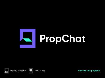 PropChat 🏠💬 spg brand icon branding logomark illustration identity mark symbol logo minimal talk chat house logo home logo property house home