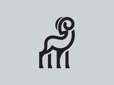 Ram geometic icon identity brand branding minimal mark symbol logo elegant line stroke animal logo animal sheep logo sheep goat logo goat ram logo ram
