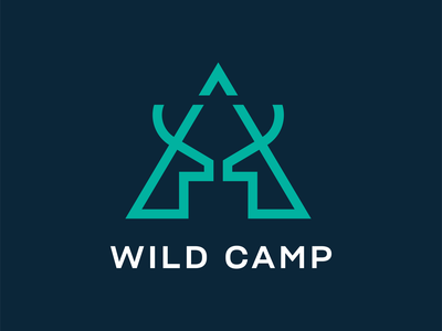 Wild Camp 🦌⛺ triangle camping wildlife line branding brand logomark minimal illustration identity mark symbol logo camp animal logo animal deer logo deer wild logo wild