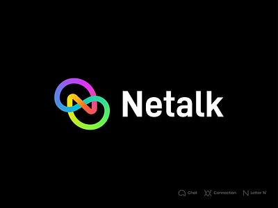 Netalk Branding gradient branding brand illustrator identity mark symbol logo stroke link letter n n app network connection connect talk logo talk chat logo chat