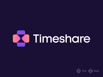 Timeshare Branding ⌛+ ➡️⬅️ ui logotype minimal colorful branding logomark identity mark symbol logo cross abstract gradient connect arrows arrow share hourglasss timelogo time
