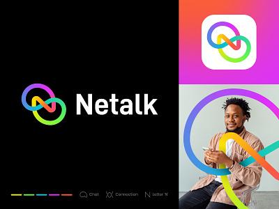 Netalk Branding link n chat app connection connect network gradient talk logo talk chat chat logo icon logomark branding minimal illustration identity mark symbol logo