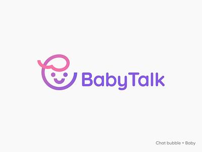 BabyTalk 👶💬 branding color gradient stroke minimal illustration identity mark symbol logo bubble chat talk smile smily child kid logo kid baby logo baby