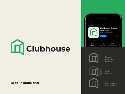 Clubhouse Logo Concept app rebranding rebrand minimal logomark branding identity mark symbol logo door house speaker voice audio talk chat socialmedia clubhouseapp clubhouse