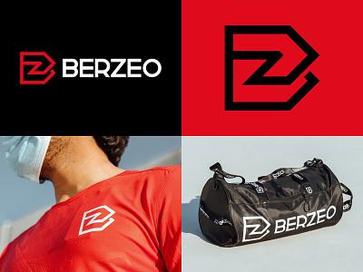 Berzeo Branding logotype black red brand logos moving b arrow energy logomark branding identity mark symbol logo gym active apparel sports berzeo
