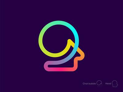 ChatHead ux ui branding gradient talk chatbubble chat people human face headlogo head minimal identity mark symbol logo