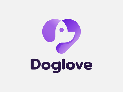 DogLove 🐶💜 doglove clever gradient branding minimal identity mark symbol love heart negativespace negative space logo animal puppy pet dog logo doglogo dog