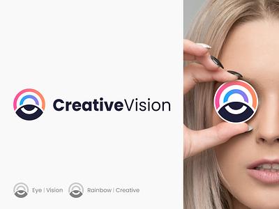 Creative Vision 👁️ 🌈 clever icon abstractlogo abstract spg logomark elegant circle vision gradient creative rainbow eye logo eye branding minimal identity mark symbol logo