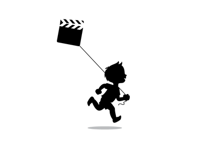 KID + CLAPPER BOARD + KITE run movie film logotype identity clapper board minimal kid kite symbol mark logo