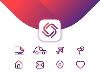 Icon Set logo symbol travel gradient pictos pictograms outline icons design