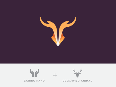 Save Wild! mark brand identity symbol icon logo wildlife animal deer hand