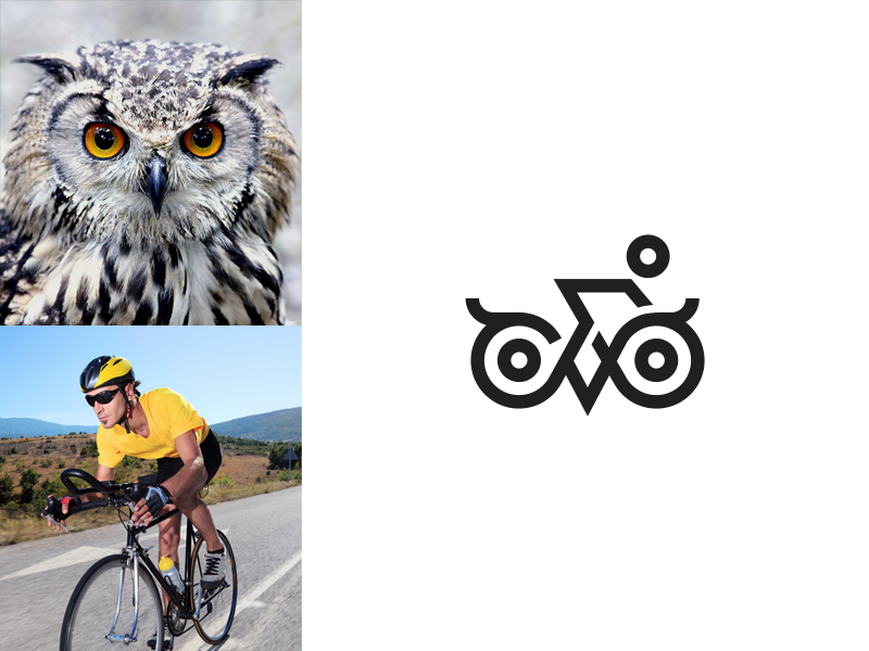 Owl + Cycling identity mark clever minimal line symbol logo bird animal cycle cycling owl
