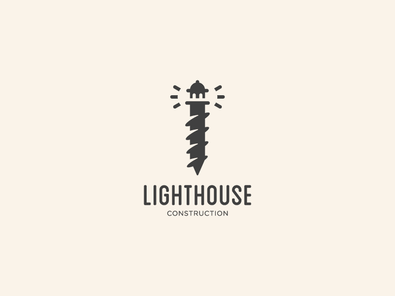 Lighthouse Construction logo mark branding identity mark symbol logo clever logo construction logo screw logo screw lighthouse logo lighthouse