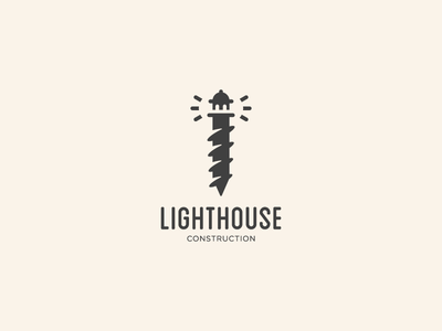 Lighthouse Construction logo mark branding identity mark symbol logo clever logo construction logo screw logo screw lighthouse logo lighthouse
