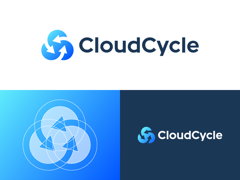 CloudCycle Logo cloud recycle arrow logo gradient symbol blue identity branding spg circle negative space