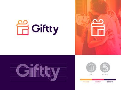 Giftty Branding icon mark symbol spg color typography typo identity branding minimal logo hugs logo hug hugs gift logo gift